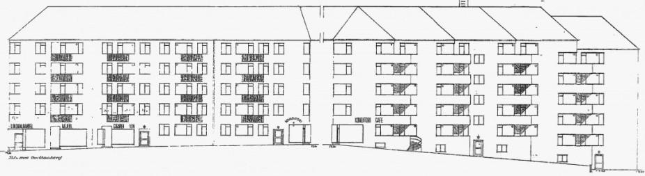 Facadetegning fra Frederiksberg kommunes byggesagsarkiv